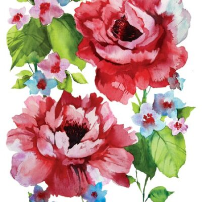 Watercolor Roses Luncheon Napkins