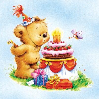 Birthday Bear Blue Luncheon Napkins