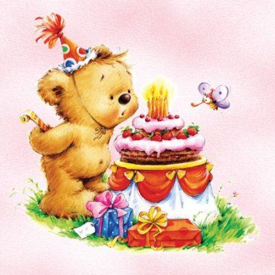 Birthday Bear Pink Luncheon Napkins