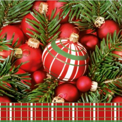 Red Christmas Baubles Luncheon Napkins
