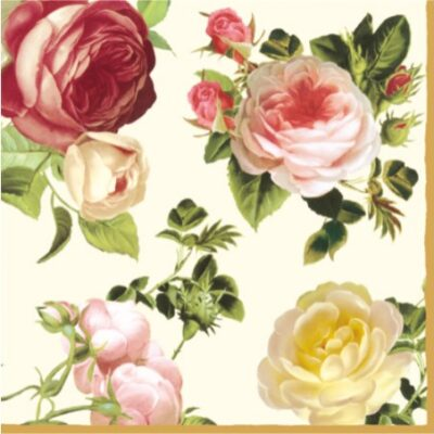 Four-Color Roses Luncheon Napkins