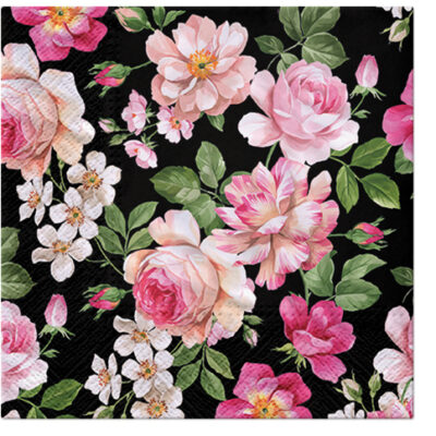 Roses Glory on Black Luncheon Napkins