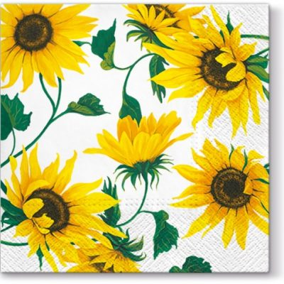 Sunflowers on White Cocktail Napkins | European Excellency