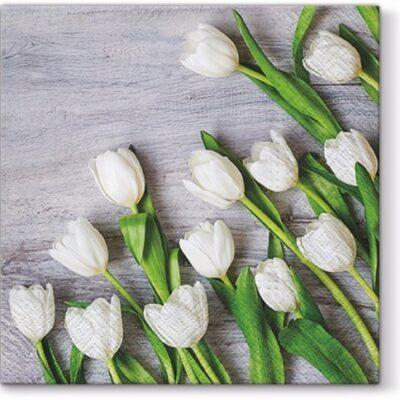 White Tulips Luncheon Napkins