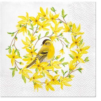 Forsythia Wreath with Yellow Bird Luncheon Napkins