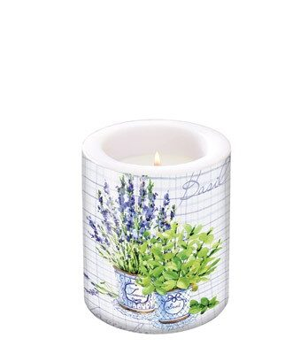 Pillar Candle Basil & Lavender small