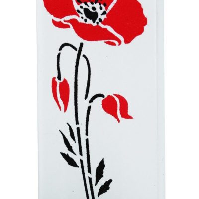 Abstract Red Poppies Flat Candle