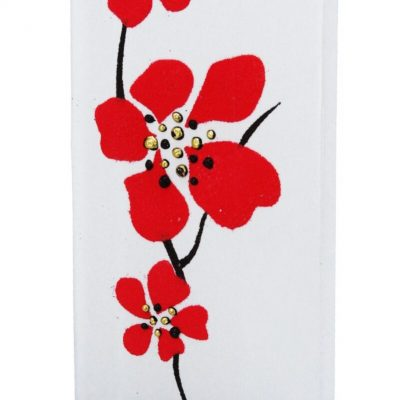 Abstract Red Flower Flat Candle