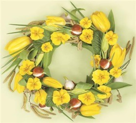 Yellow Tulips and Pansies Wreath Luncheon Napkins