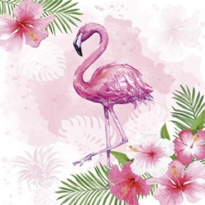 Watercolor Flamingo Luncheon Napkins