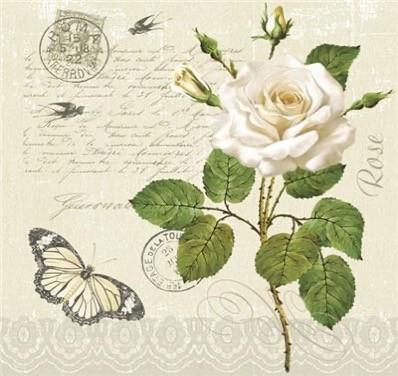 Vintage Rose Postcard Luncheon Napkins