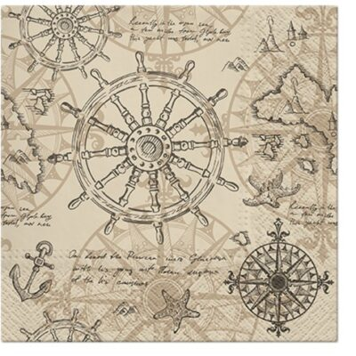 Vintage Nautical Map Luncheon Napkins
