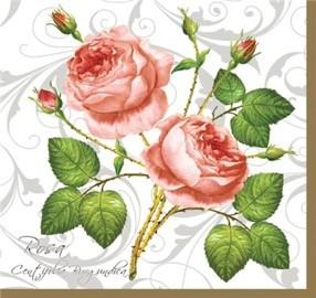 Red Rosa Centifolia Luncheon Napkins