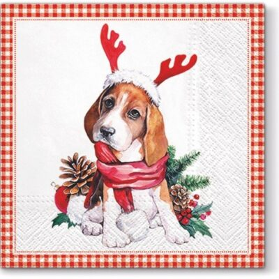 Christmas Santa Dog Luncheon Napkins