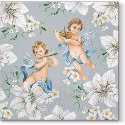 Angels in Flowers Silver Luncheon Napkins
