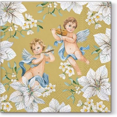 Angels in Flowers Gold Luncheon Napkins