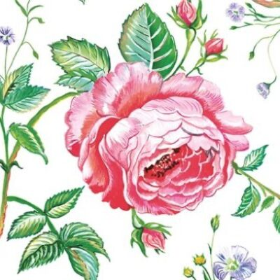 Red English Rose Luncheon Napkins