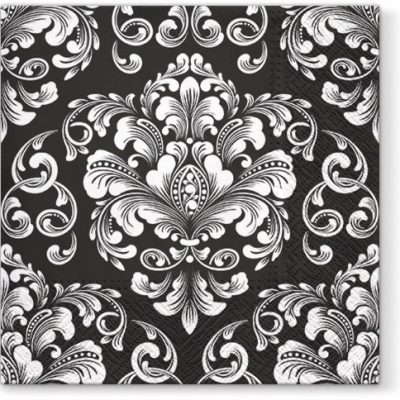 Wedding Pattern Black & White Luncheon Napkins