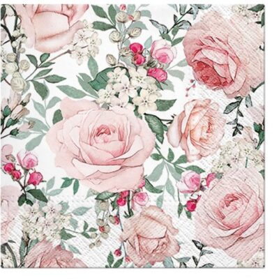 Wedding Powder Pink Roses Luncheon Napkins