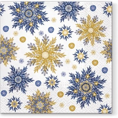 Blue and Golden Snowflakes Luncheon Napkins