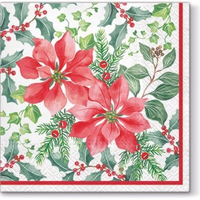 Beautiful Poinsettia Luncheon Napkins